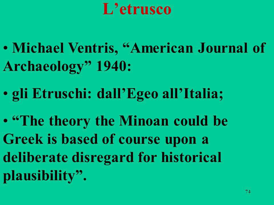 L'etrusco Michael Ventris, American Journal of Archaeology 1940: