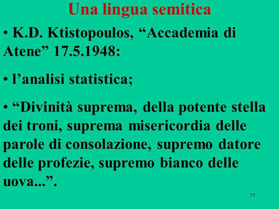 Una lingua semitica K.D. Ktistopoulos, Accademia di Atene 17.5.1948:
