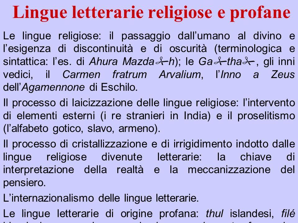 Lingue letterarie religiose e profane