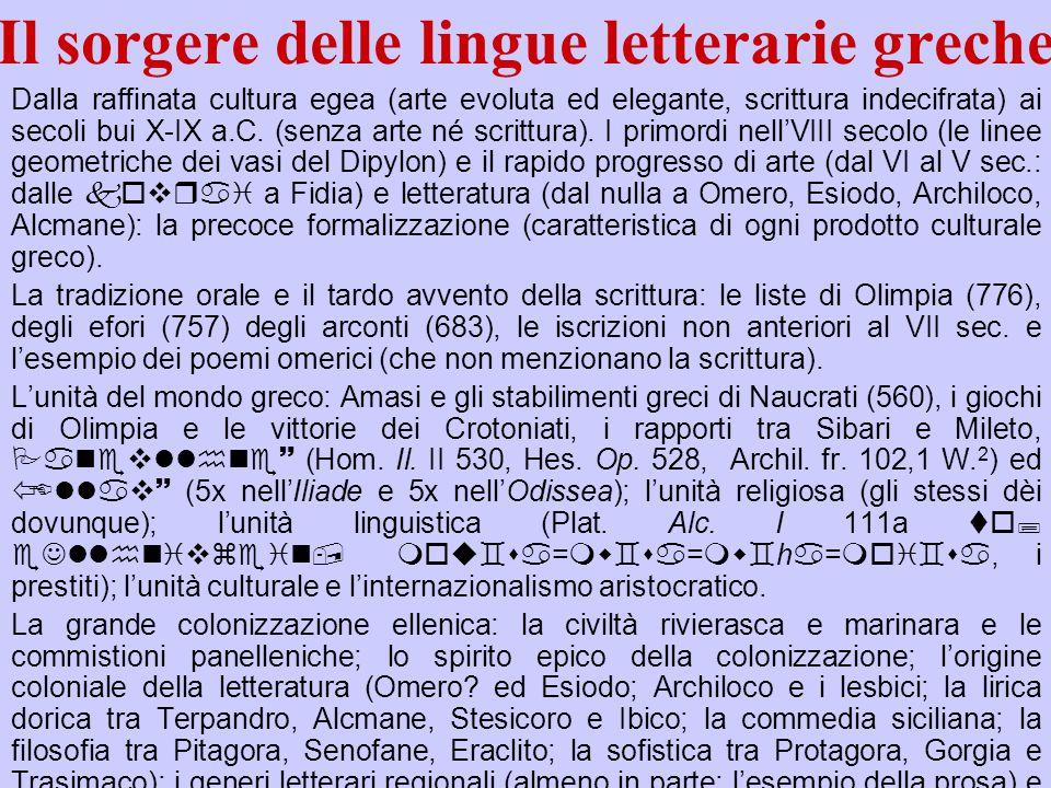 Il sorgere delle lingue letterarie greche