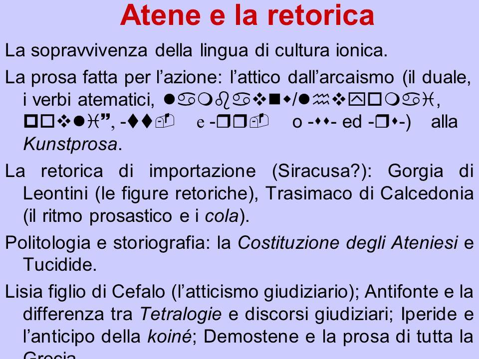 Atene e la retorica La sopravvivenza della lingua di cultura ionica.