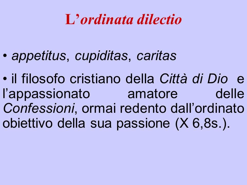 L'ordinata dilectio appetitus, cupiditas, caritas