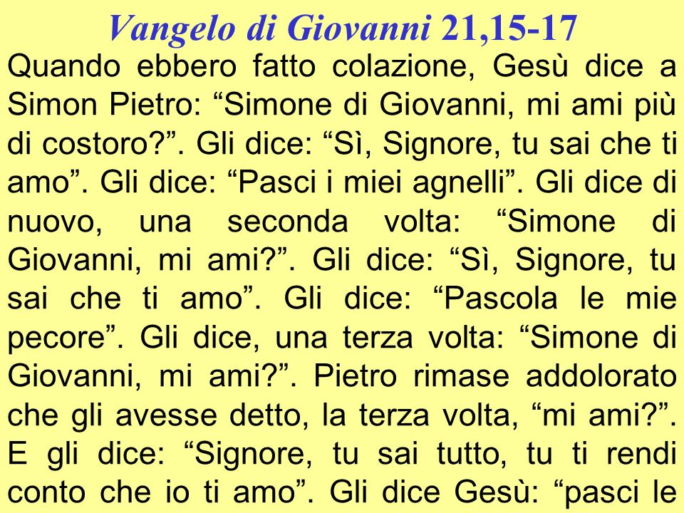 Vangelo di Giovanni 21,15-17
