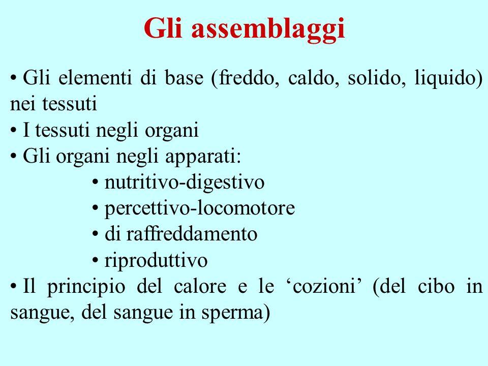 Gli assemblaggi Gli elementi di base (freddo, caldo, solido, liquido) nei tessuti. I tessuti negli organi.