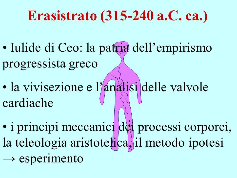 Erasistrato (315-240 a.C. ca.) Iulide di Ceo: la patria dell'empirismo progressista greco. la vivisezione e l'analisi delle valvole cardiache.