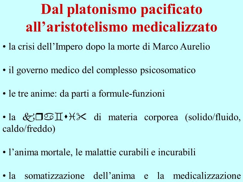 Dal platonismo pacificato all'aristotelismo medicalizzato