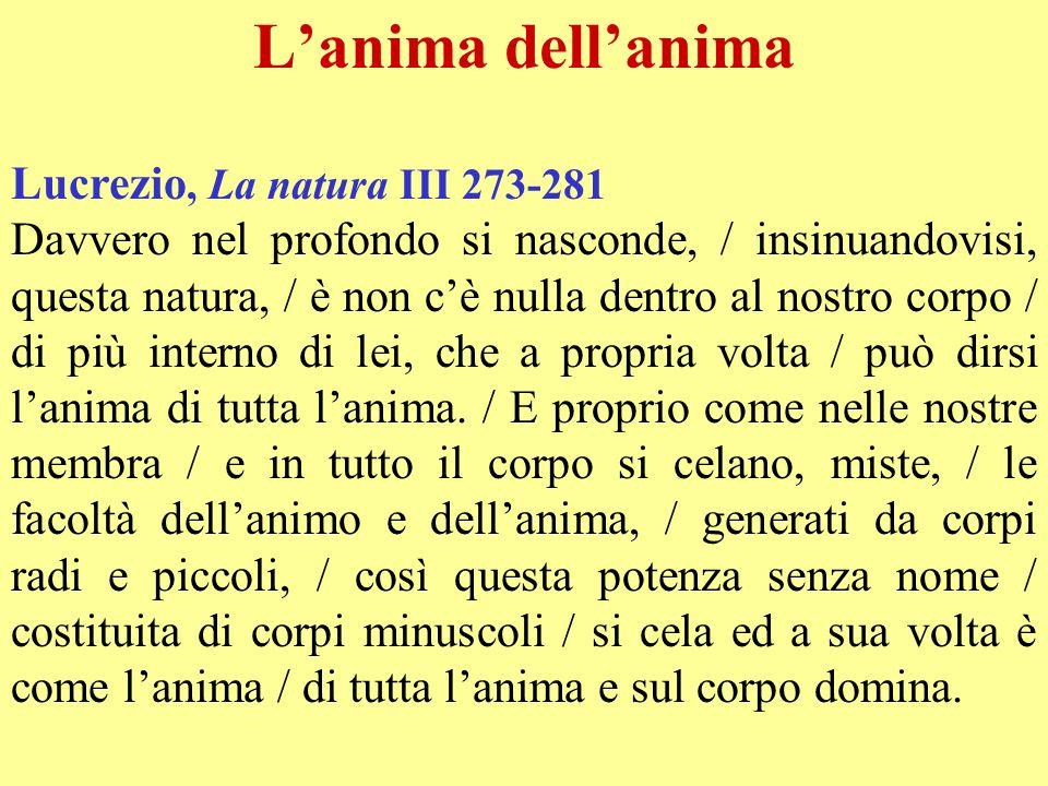 L'anima dell'anima Lucrezio, La natura III 273-281