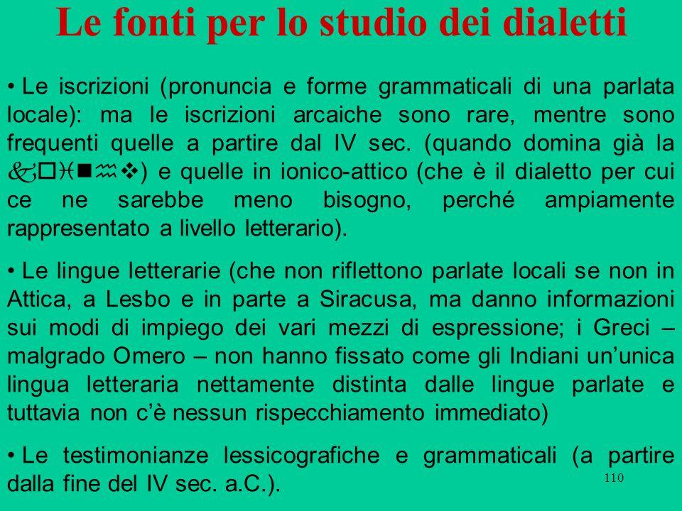 Le fonti per lo studio dei dialetti