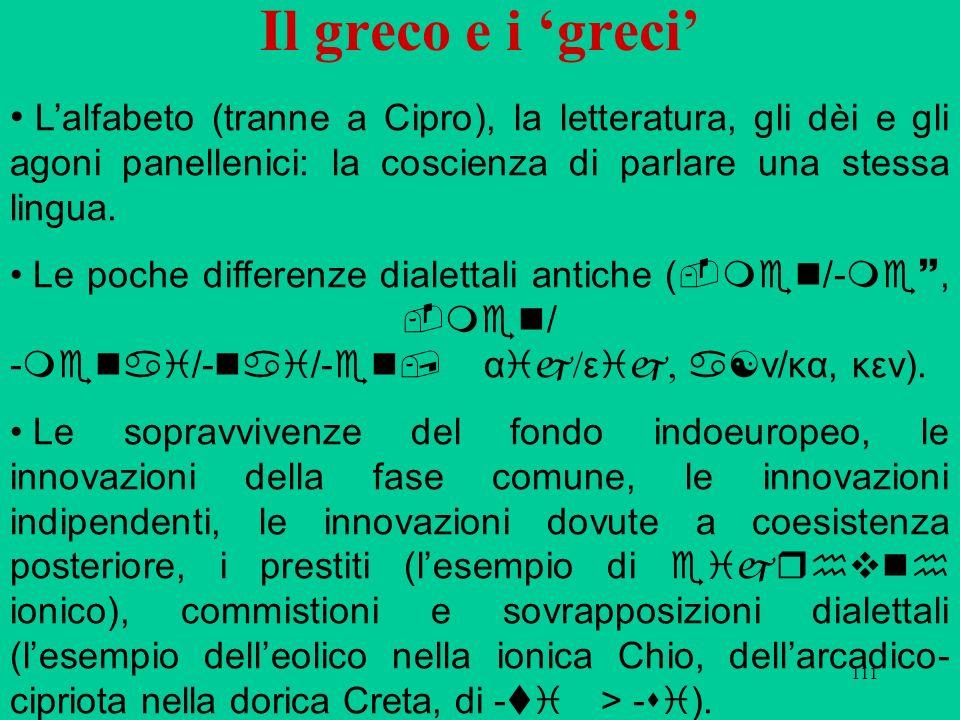 Il greco e i 'greci' L'alfabeto (tranne a Cipro), la letteratura, gli dèi e gli agoni panellenici: la coscienza di parlare una stessa lingua.