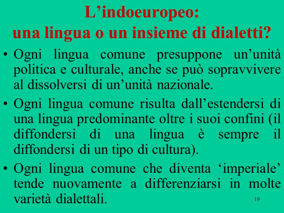 L'indoeuropeo: una lingua o un insieme di dialetti
