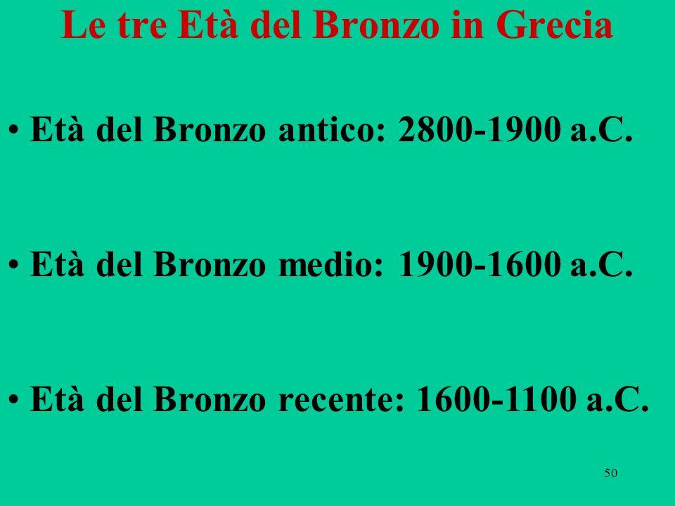 Le tre Età del Bronzo in Grecia
