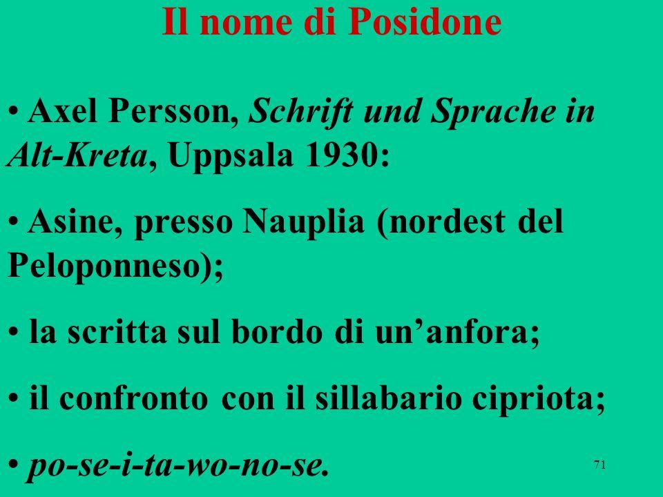 Il nome di Posidone Axel Persson, Schrift und Sprache in Alt-Kreta, Uppsala 1930: Asine, presso Nauplia (nordest del Peloponneso);