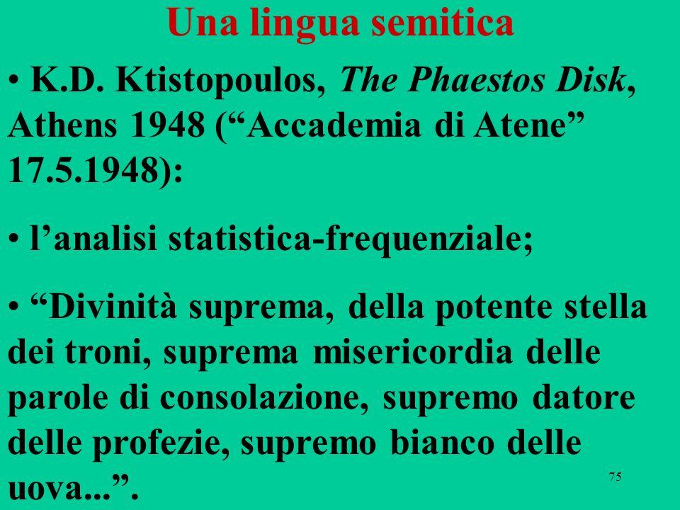 Una lingua semitica K.D. Ktistopoulos, The Phaestos Disk, Athens 1948 ( Accademia di Atene 17.5.1948):