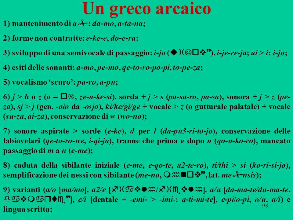 Un greco arcaico 1) mantenimento di a: da-mo, a-ta-na;