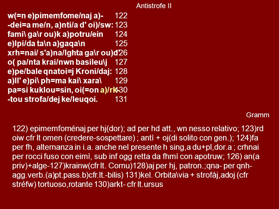 w(=n e)pimemfome/naj a)- -dei=a me/n, a)nti/a d oi)/sw: