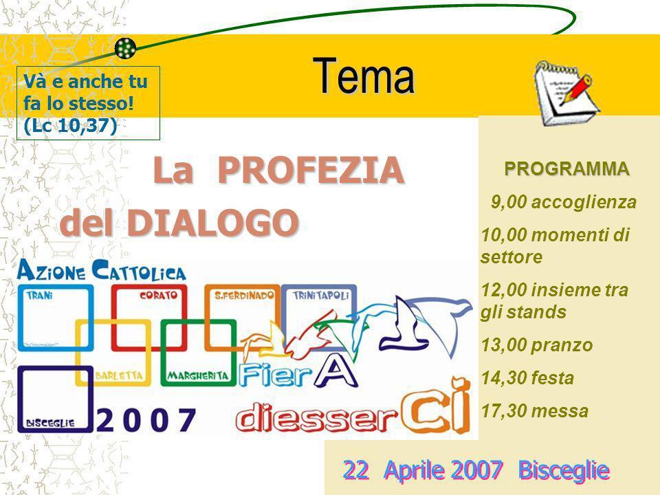 Tema del DIALOGO La PROFEZIA 22 Aprile 2007 Bisceglie
