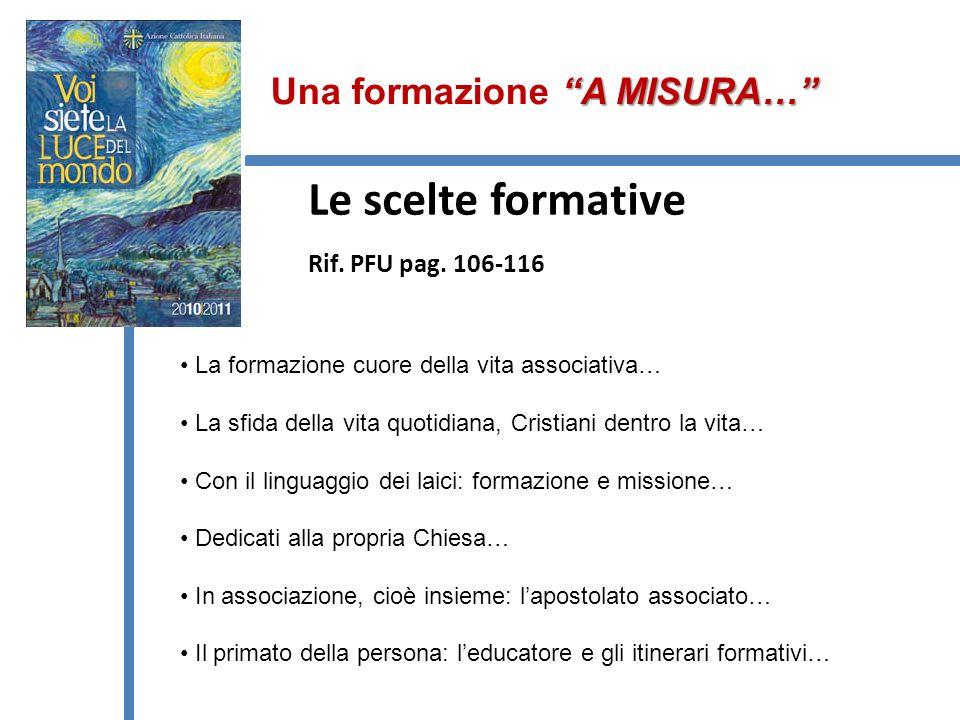 Le scelte formative Rif. PFU pag. 106-116
