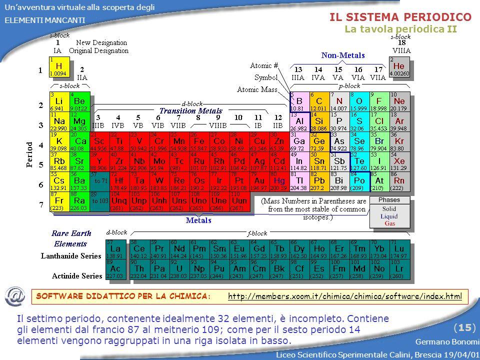 IL SISTEMA PERIODICO La tavola periodica II