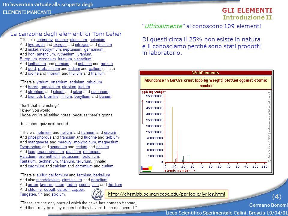 GLI ELEMENTI Introduzione II Ufficialmente si conoscono 109 elementi