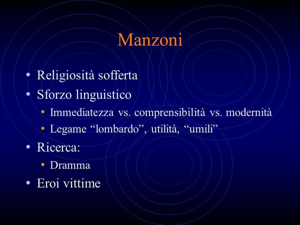 Manzoni Religiosità sofferta Sforzo linguistico Ricerca: Eroi vittime