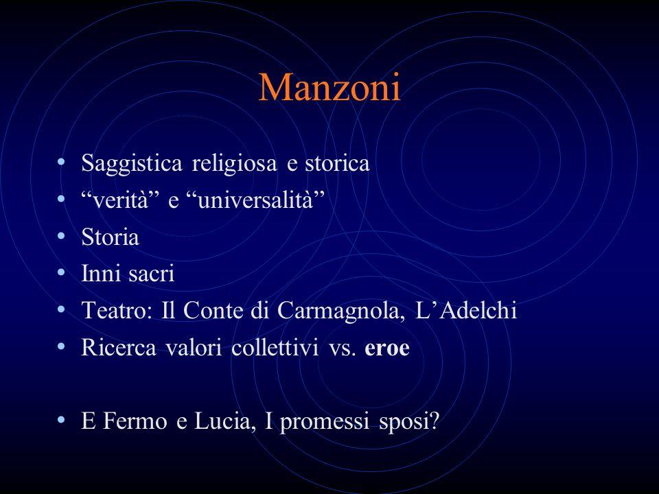 Manzoni Saggistica religiosa e storica verità e universalità