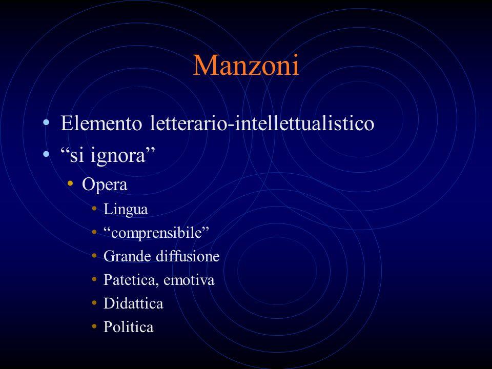 Manzoni Elemento letterario-intellettualistico si ignora Opera