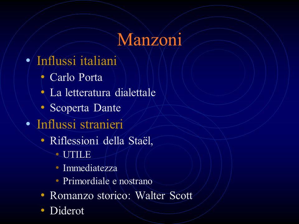 Manzoni Influssi italiani Influssi stranieri Carlo Porta