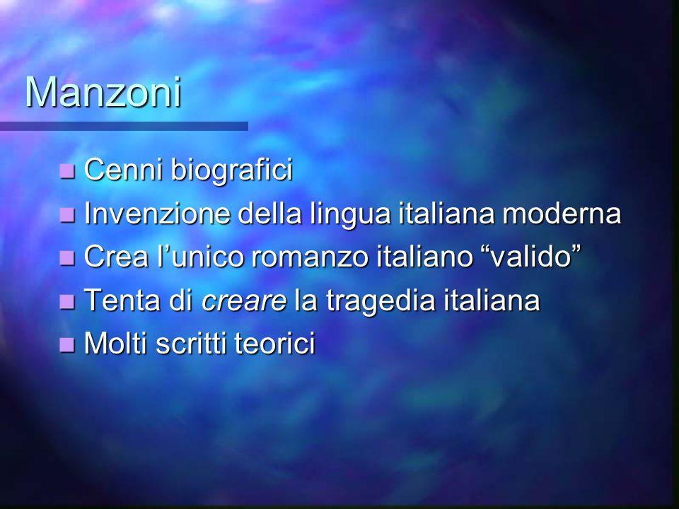 Manzoni Cenni biografici Invenzione della lingua italiana moderna