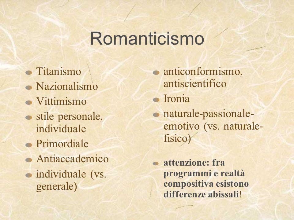 Romanticismo Titanismo Nazionalismo Vittimismo