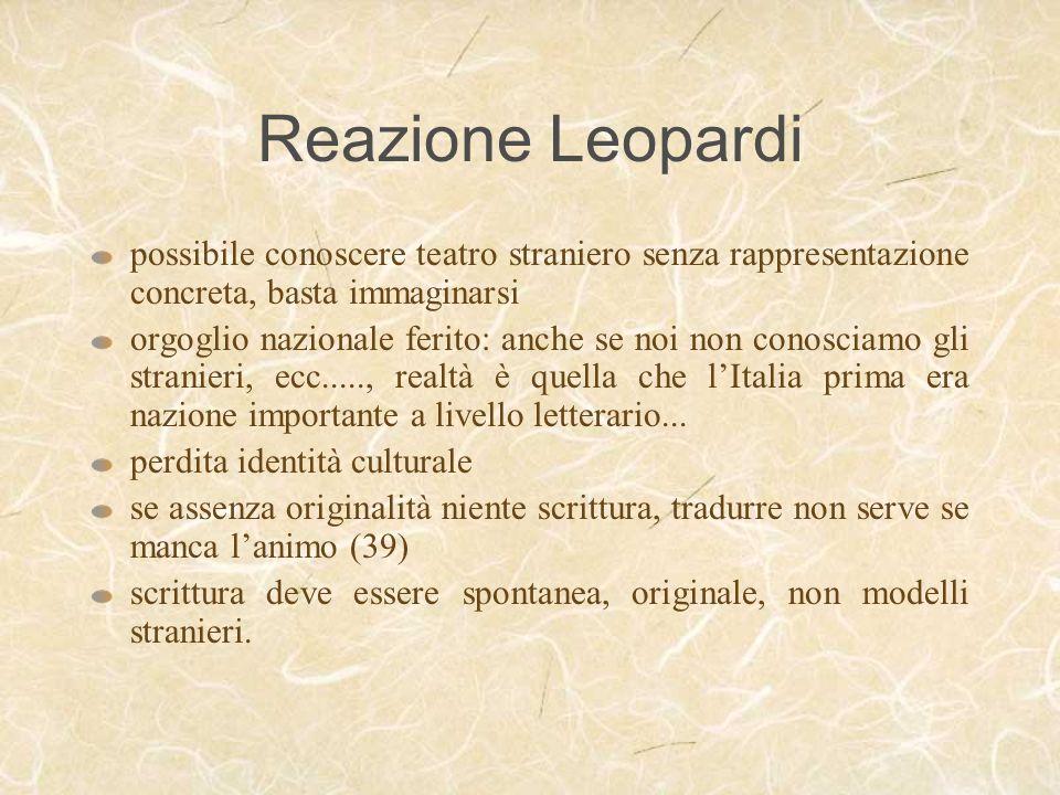 Reazione Leopardi possibile conoscere teatro straniero senza rappresentazione concreta, basta immaginarsi.