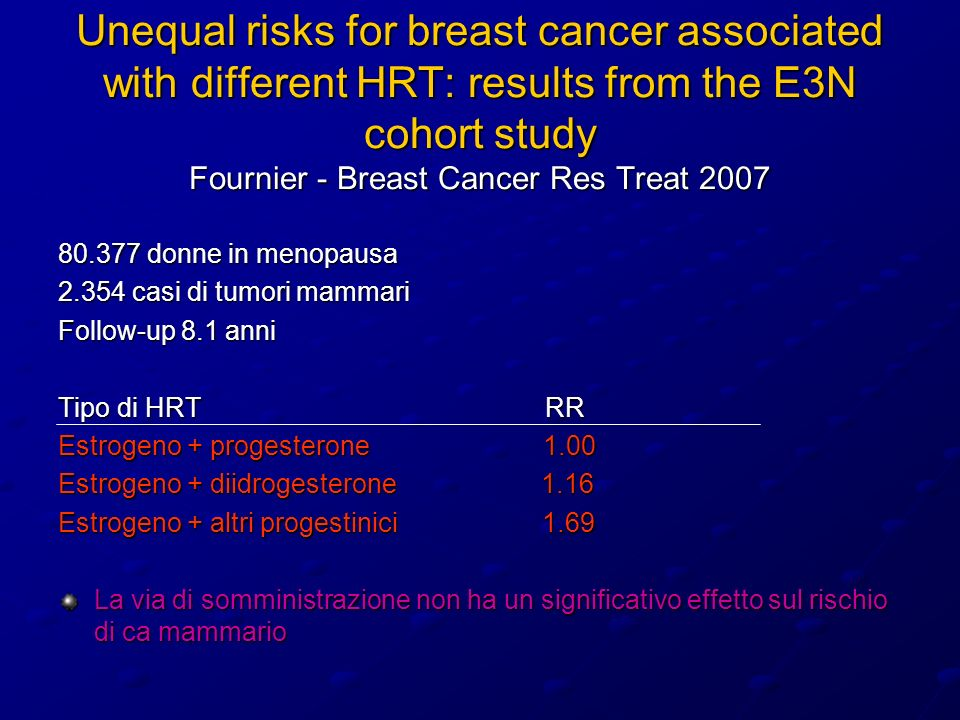 Unequal risks for breast cancer associated with different HRT: results from the E3N cohort study Fournier - Breast Cancer Res Treat 2007