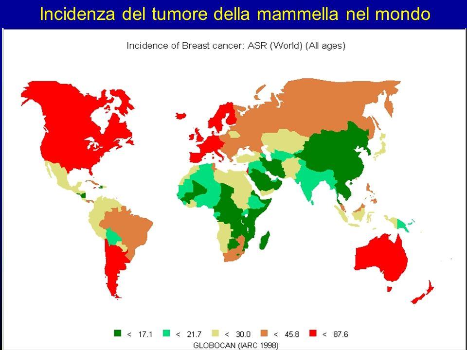 Incidenza del tumore della mammella nel mondo
