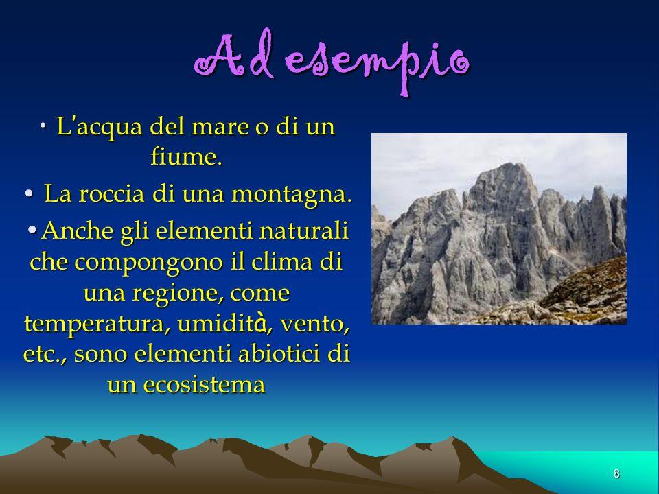Ad esempio L'acqua del mare o di un fiume. La roccia di una montagna.