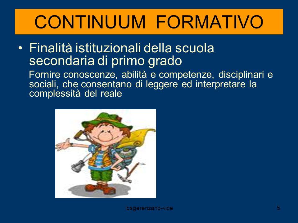 CONTINUUM FORMATIVO Finalità istituzionali della scuola secondaria di primo grado.
