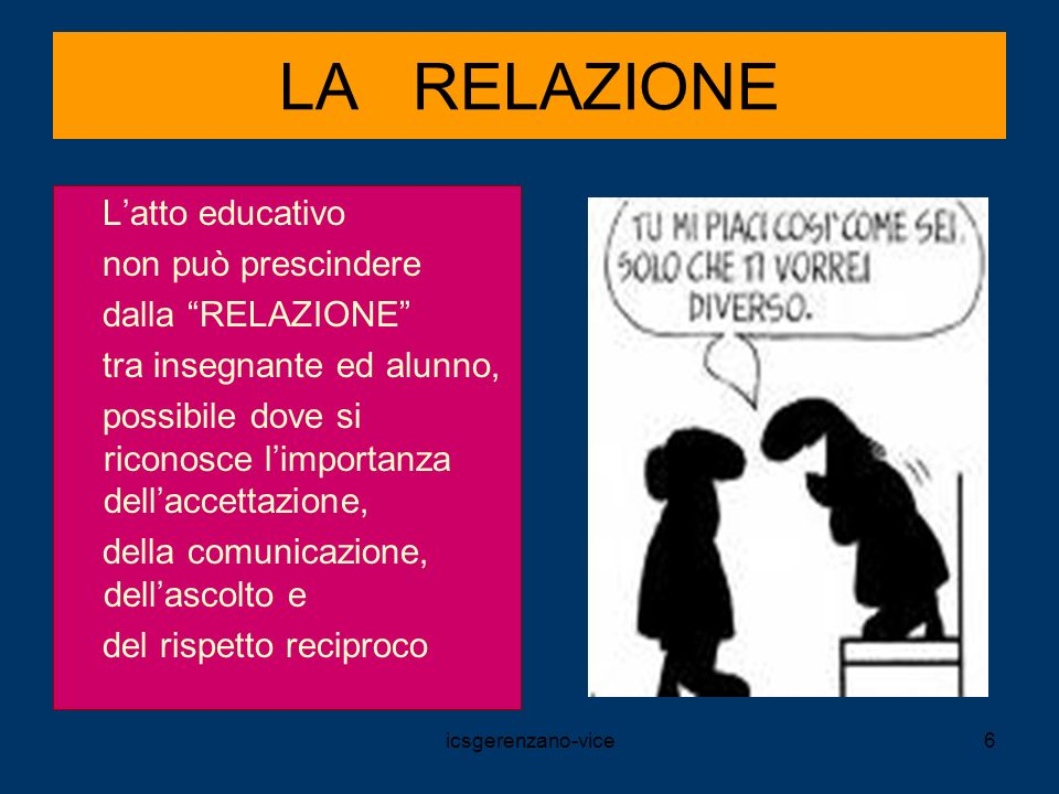 LA RELAZIONE L'atto educativo non può prescindere dalla RELAZIONE
