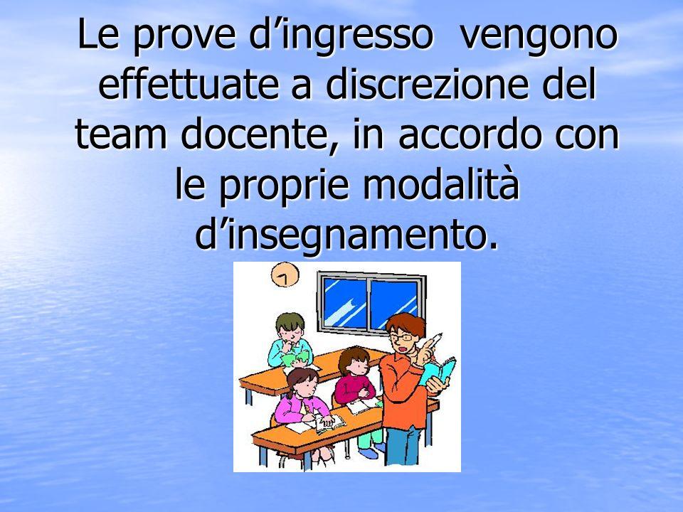 Le prove d'ingresso vengono effettuate a discrezione del team docente, in accordo con le proprie modalità d'insegnamento.