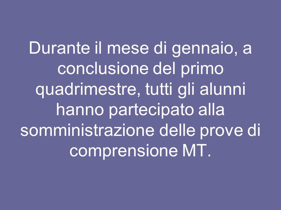 Durante il mese di gennaio, a conclusione del primo quadrimestre, tutti gli alunni hanno partecipato alla somministrazione delle prove di comprensione MT.