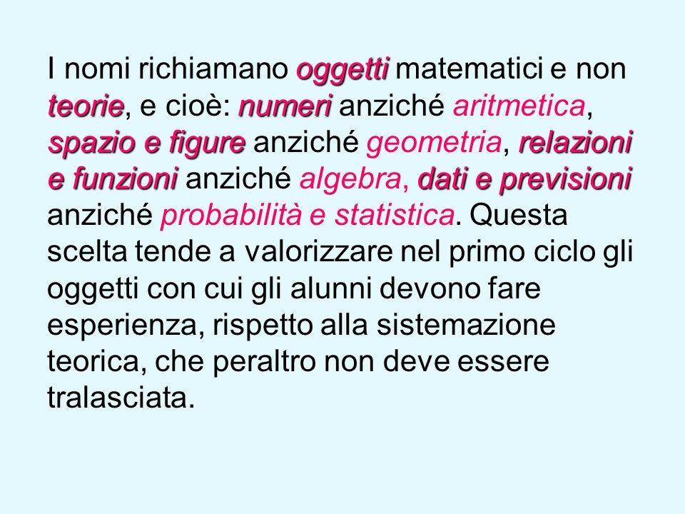 I nomi richiamano oggetti matematici e non teorie, e cioè: numeri anziché aritmetica, spazio e figure anziché geometria, relazioni e funzioni anziché algebra, dati e previsioni anziché probabilità e statistica.