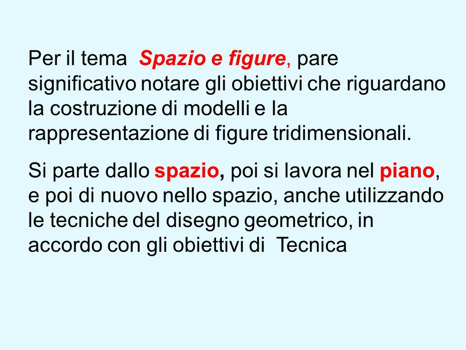 Per il tema Spazio e figure, pare significativo notare gli obiettivi che riguardano la costruzione di modelli e la rappresentazione di figure tridimensionali.