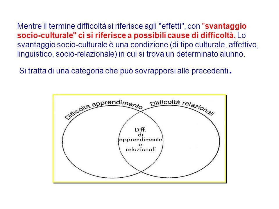 Mentre il termine difficoltà si riferisce agli effetti , con svantaggio socio-culturale ci si riferisce a possibili cause di difficoltà.