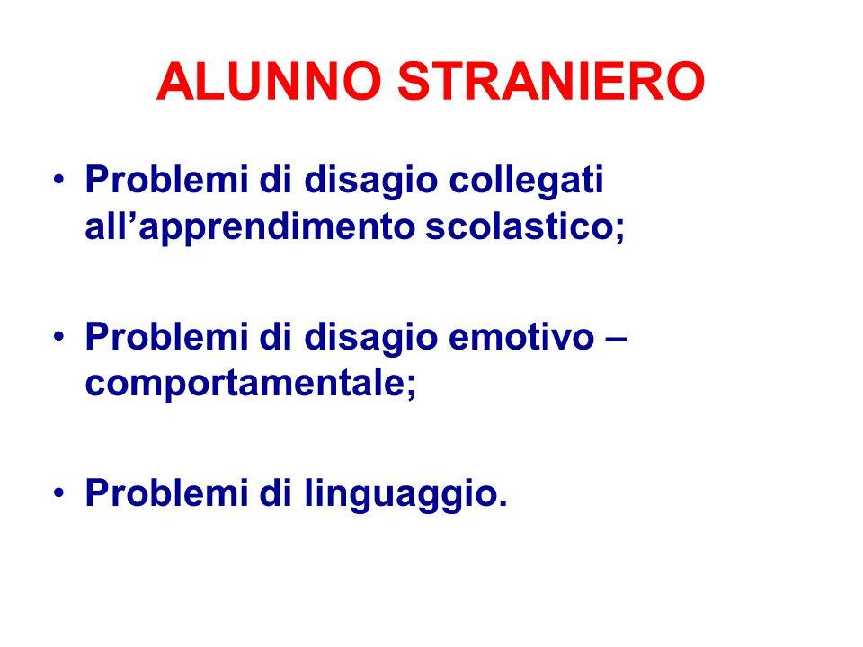 ALUNNO STRANIERO Problemi di disagio collegati all'apprendimento scolastico; Problemi di disagio emotivo – comportamentale;