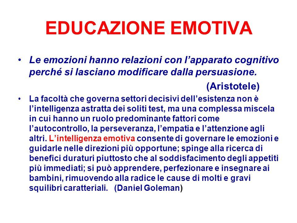 EDUCAZIONE EMOTIVA Le emozioni hanno relazioni con l'apparato cognitivo perché si lasciano modificare dalla persuasione.