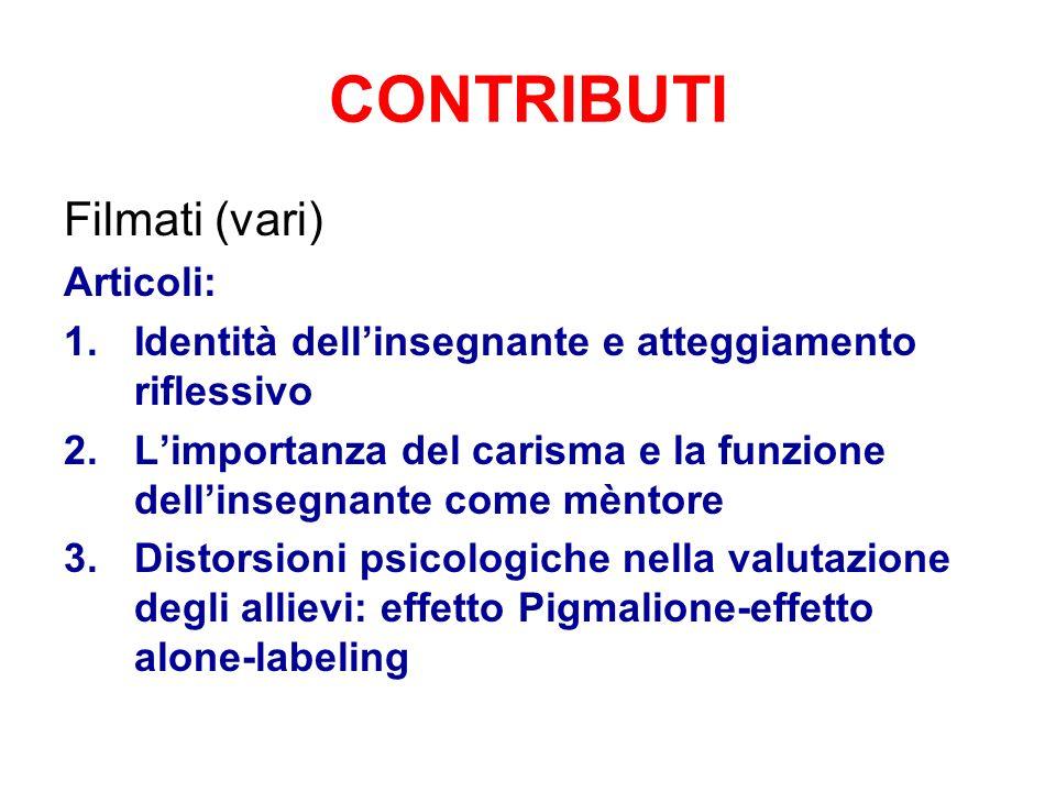 CONTRIBUTI Filmati (vari) Articoli: