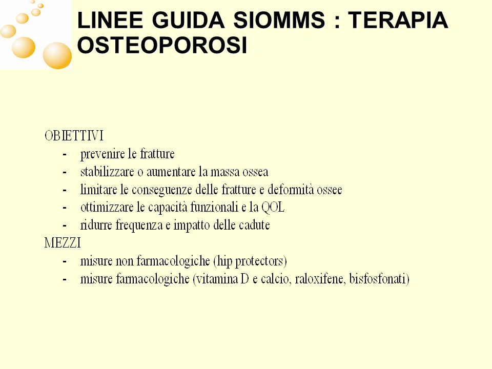 LINEE GUIDA SIOMMS : TERAPIA OSTEOPOROSI