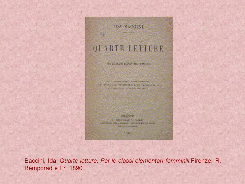Baccini, Ida, Quarte letture. Per le classi elementari femminili