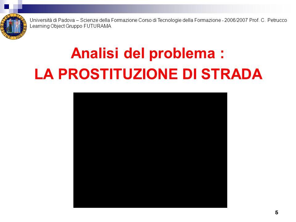 Analisi del problema : LA PROSTITUZIONE DI STRADA