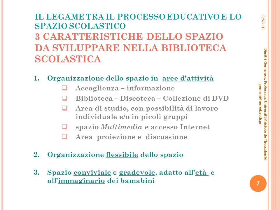 9/5/2010 IL LEGAME TRA IL PROCESSO EDUCATIVO E LO SPAZIO SCOLASTICO 3 CARATTERISTICHE DELLO SPAZIO DA SVILUPPARE NELLA BIBLIOTECA SCOLASTICA.