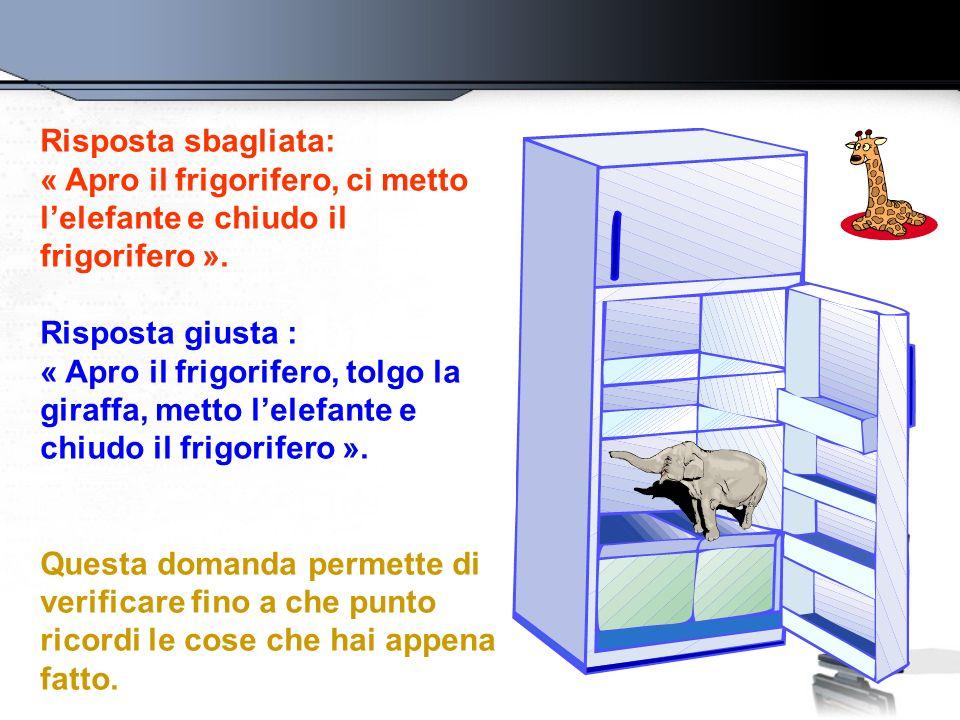 Risposta sbagliata: « Apro il frigorifero, ci metto l'elefante e chiudo il frigorifero ». Risposta giusta :