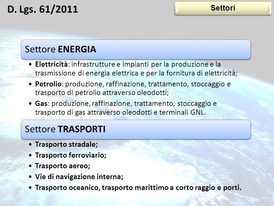 D. Lgs. 61/2011 Settori 14 Settore ENERGIA