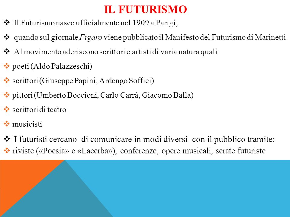 Il futurisMO Il Futurismo nasce ufficialmente nel 1909 a Parigi, quando sul giornale Figaro viene pubblicato il Manifesto del Futurismo di Marinetti.